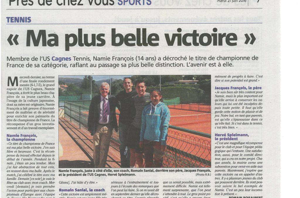 UNE BELLE VICTOIRE POUR NAMIE FRANCOIS